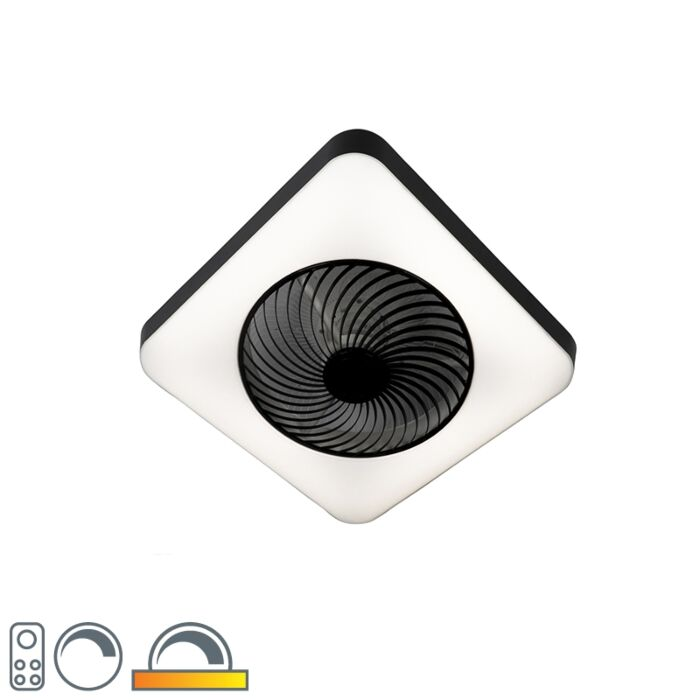 Ceiling-fan-square-black-incl.-LED-dimmable---Climo