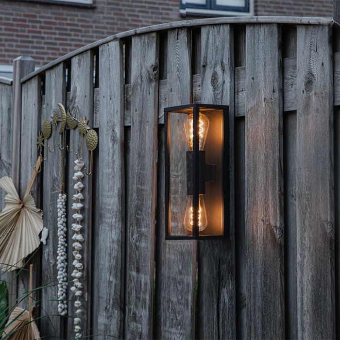 Industrial-wall-lamp-black-38-cm-2-light-IP44---Charlois