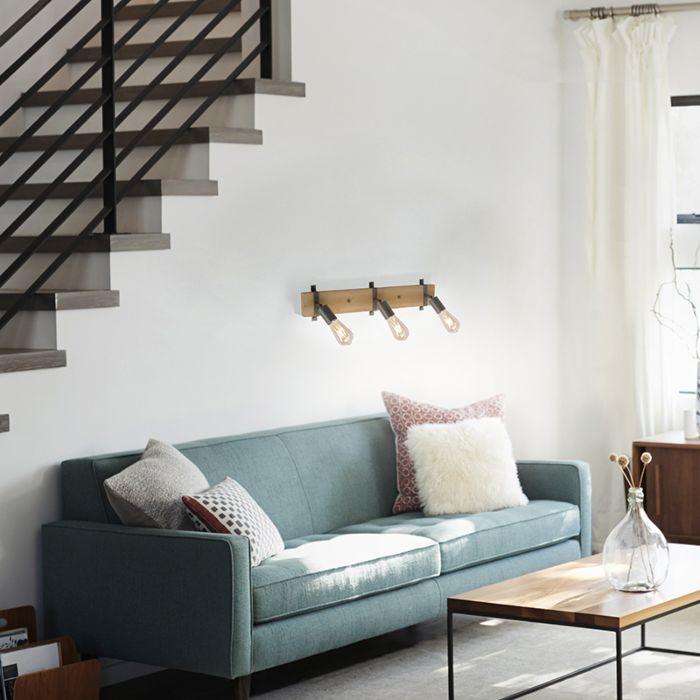 Wall-lamp-wood-with-steel-3-light-adjustable---Maris