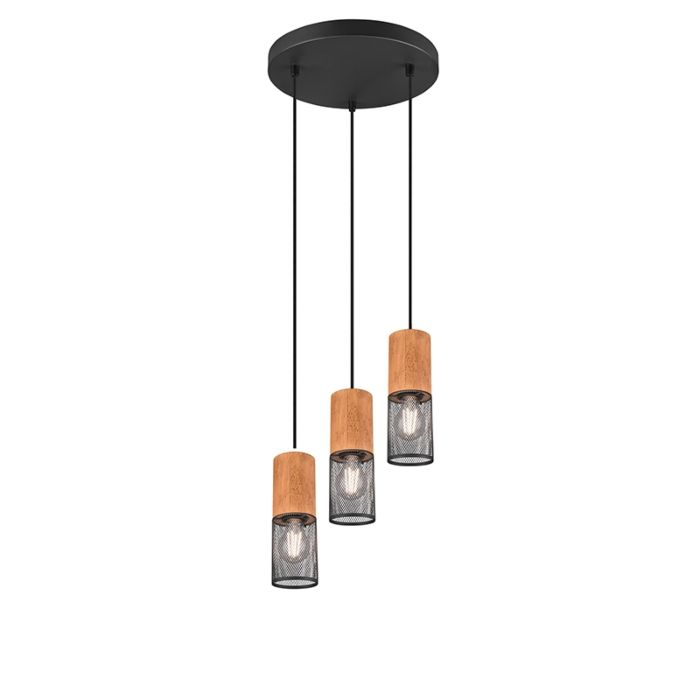 Industrial-ceiling-lamp-black-with-wood-3-light---Manon