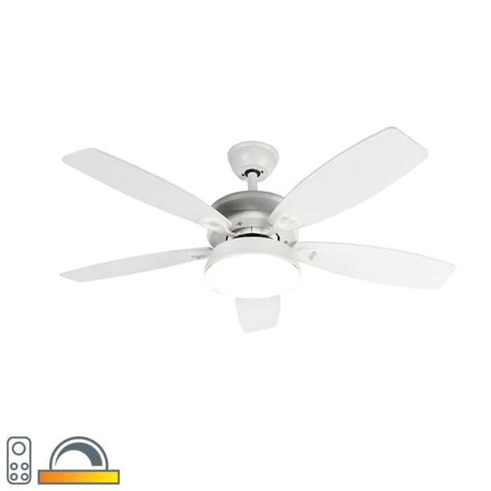Design-ceiling-fan-white-incl.-LED-with-remote-control---Malaki