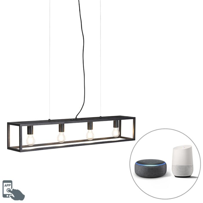 Smart-industrial-hanging-lamp-black-incl.-4-WiFi-A60---Cage-4