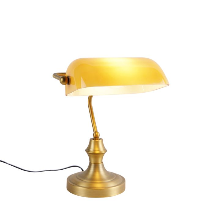 Classic-notary-lamp-bronze-with-amber-glass---Banker