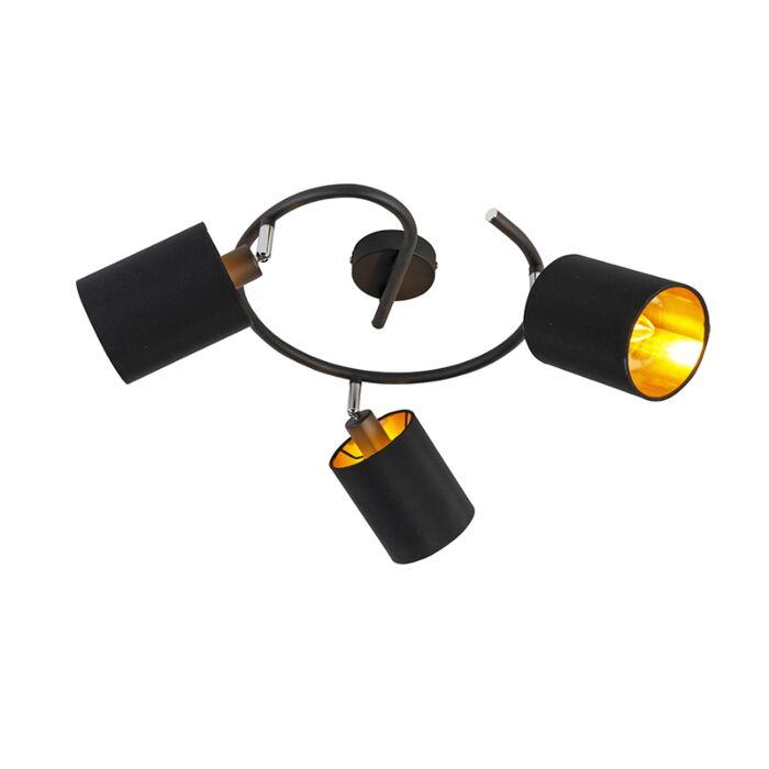 Smart-modern-ceiling-lamp-black-incl.-3-WiFi-B35---Lofty