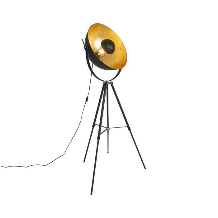 Floor-lamp-black-with-gold-51-cm-adjustable-tripod---Magnax