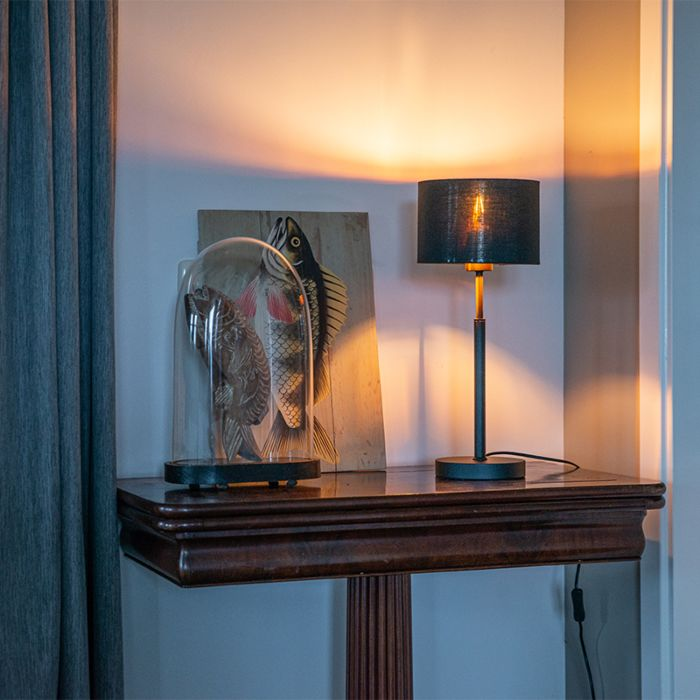 Modern-table-lamp-fabric-shade-black-with-gold---VT-1