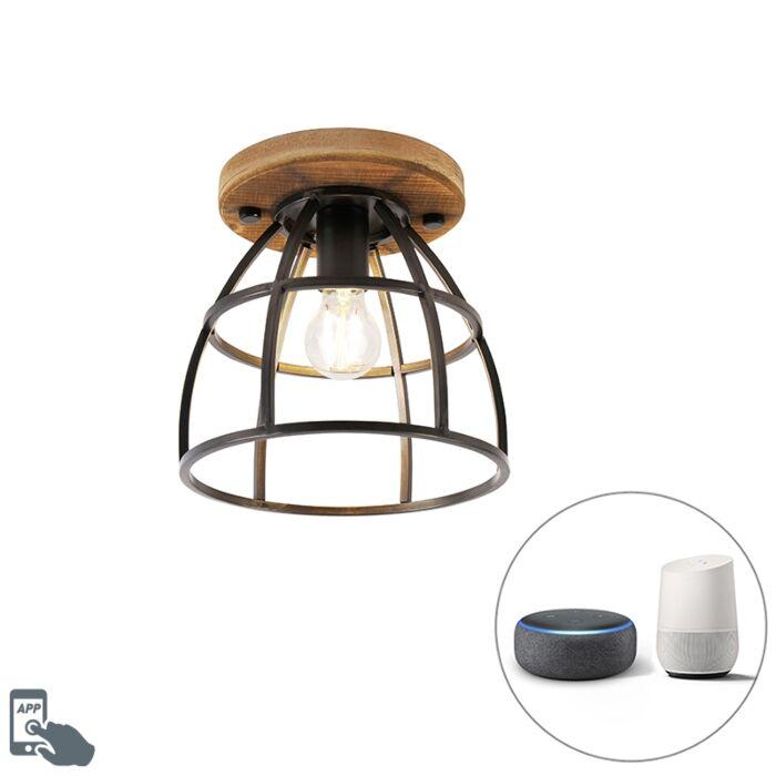 Smart-ceiling-lamp-black-with-wood-incl.-WiFi-E27---Arthur