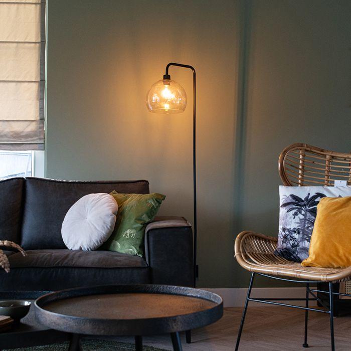 Modern-floor-lamp-black-with-smoke-glass---Maly
