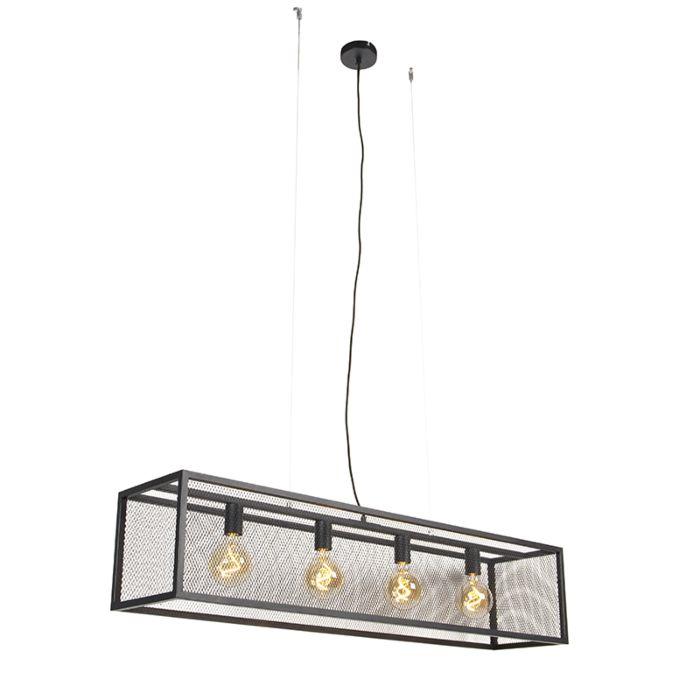 Industrial-hanging-lamp-black-118-cm-4-light---Cage-Mesh