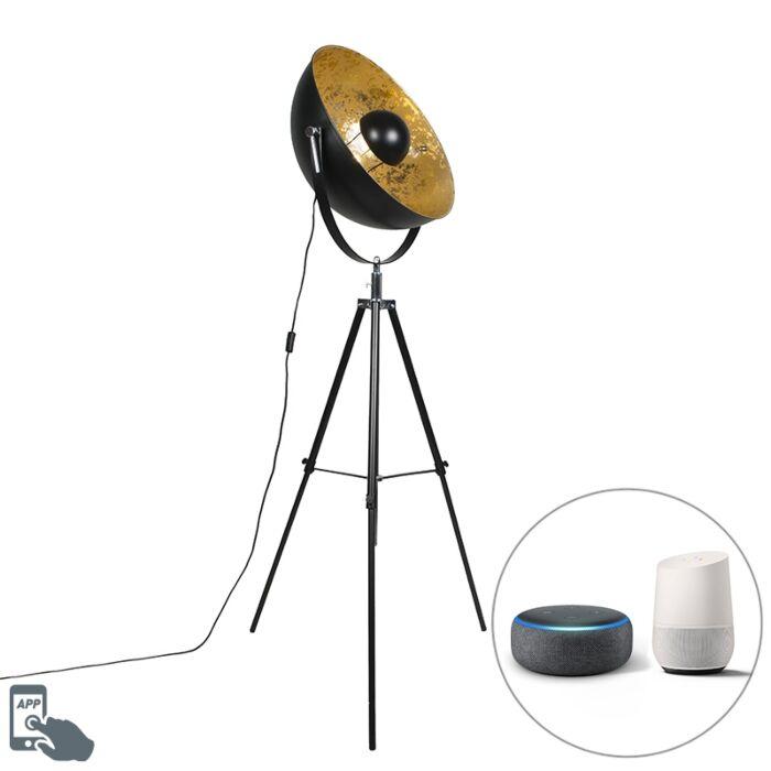 Industrial-smart-floor-lamp-black-tripod-incl.-WiFi-A60---Magna-50-Eglip