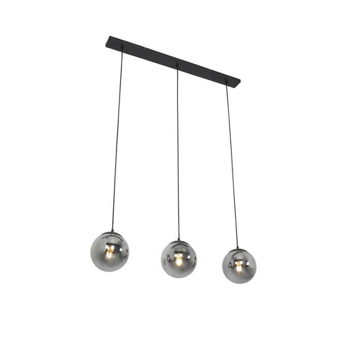 Art-Deco-hanging-lamp-black-with-smoke-glass-3-light---Pallon-Mezzi