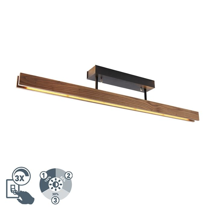 Country-ceiling-lamp-wood-incl.-LED-3-step-dimmable---Holz