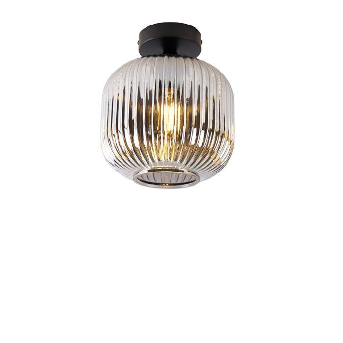 Art-Deco-ceiling-lamp-black-with-smoke-glass---Karel