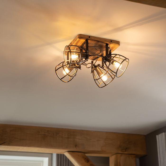 Industrial-spotlight-black-with-wood-adjustable-4-light---Arthur