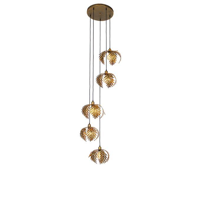 Vintage-hanging-lamp-brass-5-light---Botanica