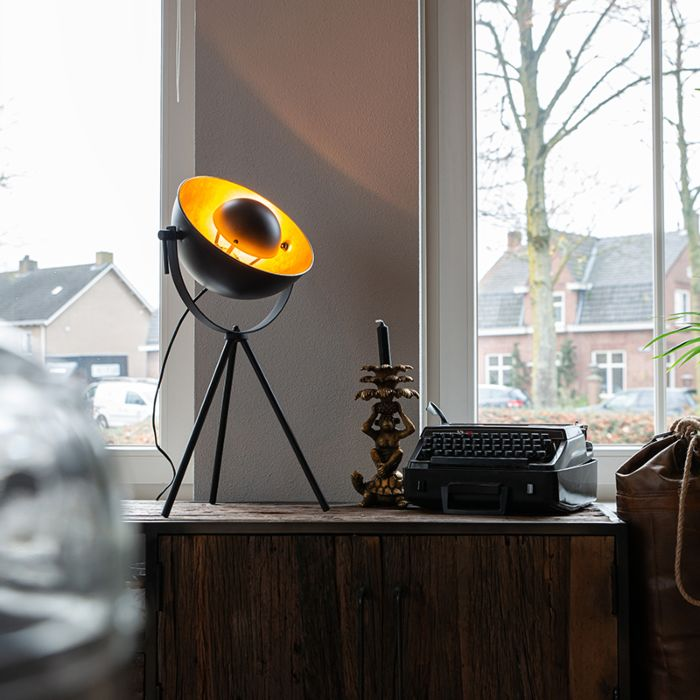 Table-lamp-black-with-gold-63.3-cm-tripod-adjustable---Magnax