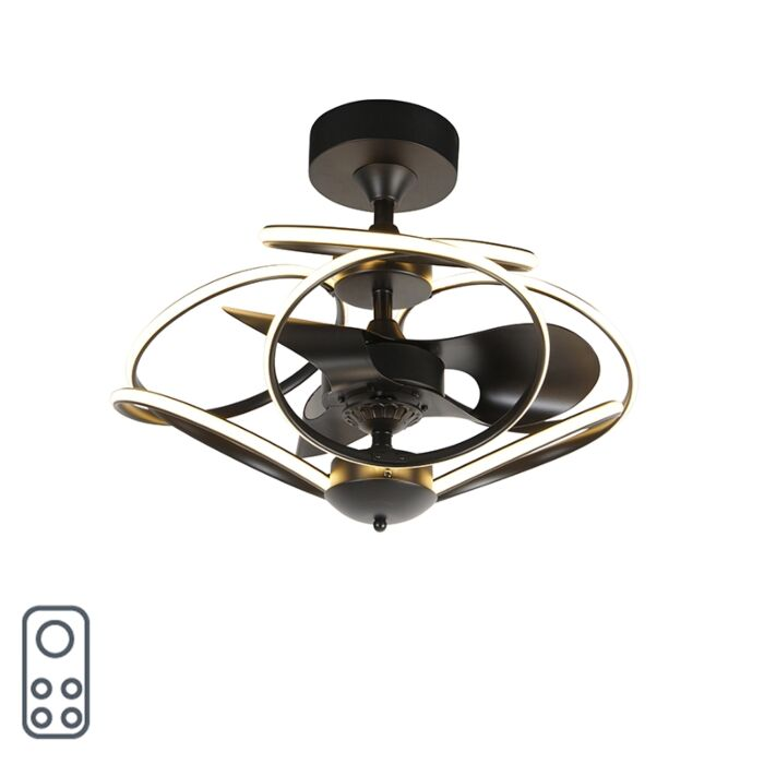 Design-ceiling-fan-black-with-remote-control-incl.-LED---Kauv