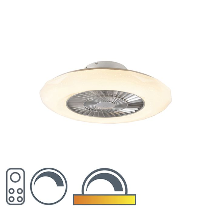 Ceiling-fan-silver-incl.-LED-with-star-effect-dimmable---Clima