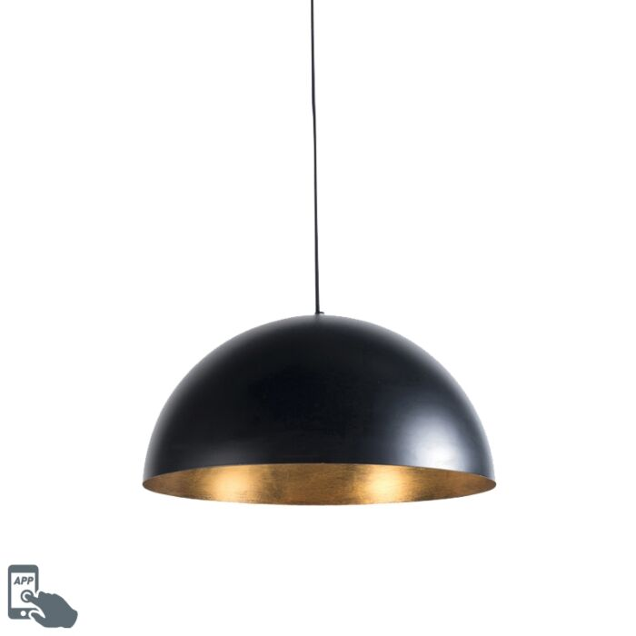 Smart-industrial-hanging-lamp-black-with-gold-50-cm-incl.-Wifi-G125---Magna-Eco