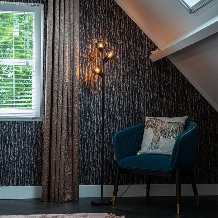 Art-Deco-floor-lamp-black-3-light-with-smoke-glass---Vidro