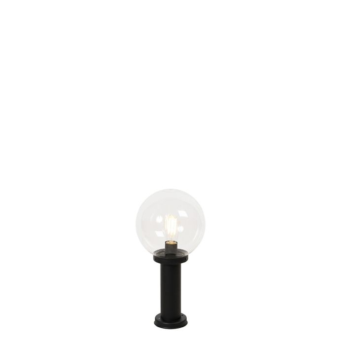 Outdoor-lamp-black-with-clear-glass-IP44-50-cm---Sfera