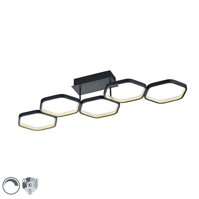 Modern-ceiling-lamp-gray-incl.-LED-3-step-dimmable---Jetse