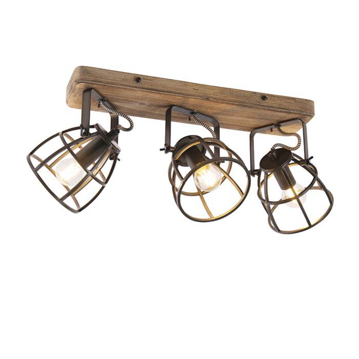Industrial-spotlight-black-with-wood-adjustable-3-light---Arthur