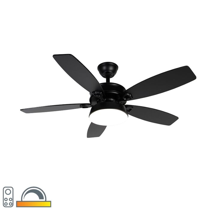 Ceiling-fan-black-with-remote-control-incl.-LED---Malaki