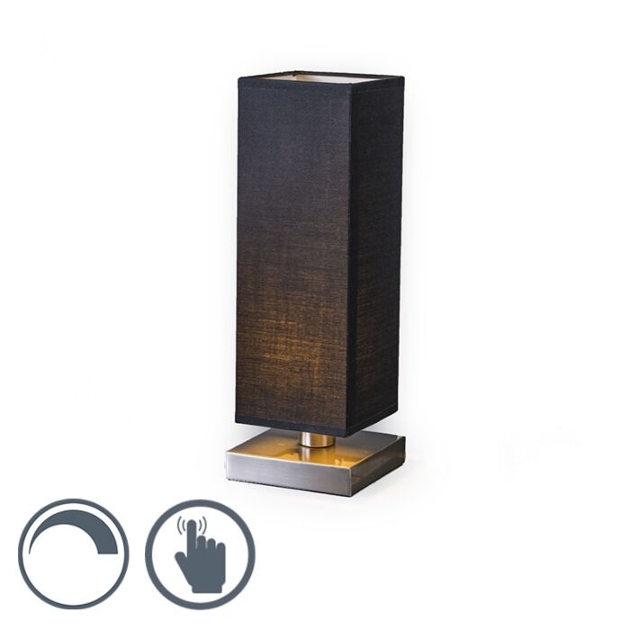 Table-Lamp-Tower-Touch-Steel-with-Black-Shade