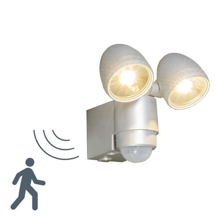 Outdoor-Lamp-VAP-Duo-Silver-with-Motion-Detector