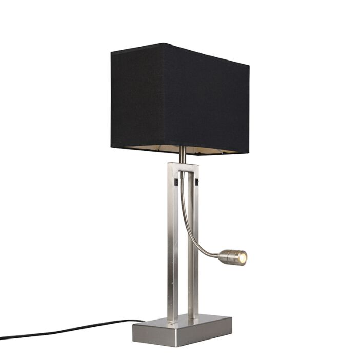Table-lamp-Bergamo-steel-with-black-shade