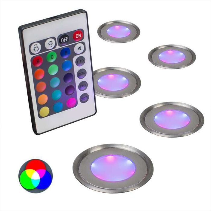 Set-of-5-Recessed-Spot-Lights-Puck-IP67-RGB