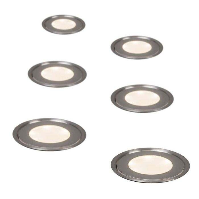 Set-of-6-Recessed-Spot-lights-Puck-IP54-WW