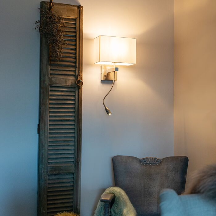 Bergamo-steel-wall-lamp-with-shade-of-cream-white