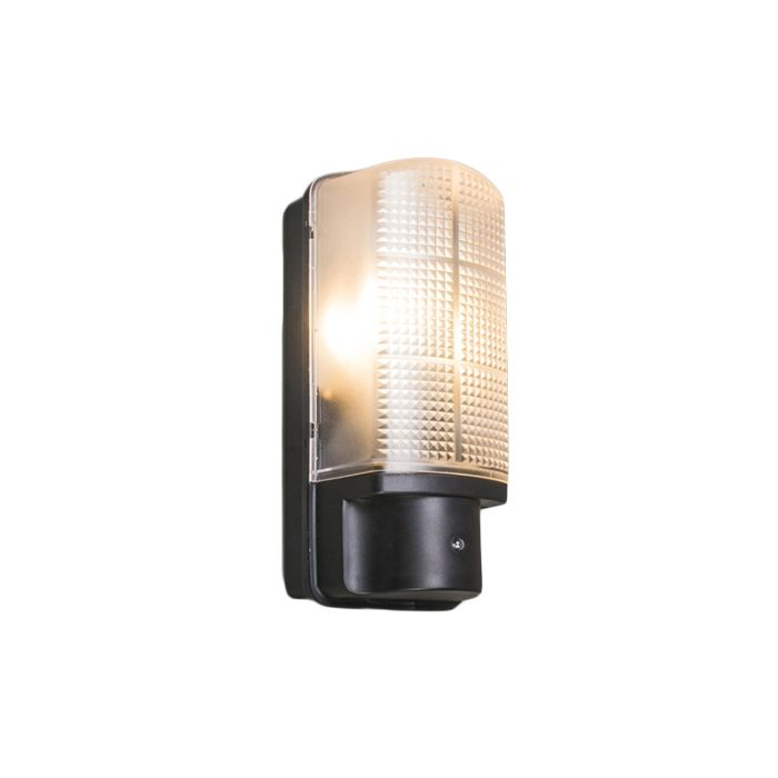 Exterior-wall-light-black-with-light-dark-switch-IP44---Mossa