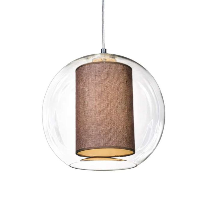 Pendant-Lamp-Globe-30-with-Brown-Shade