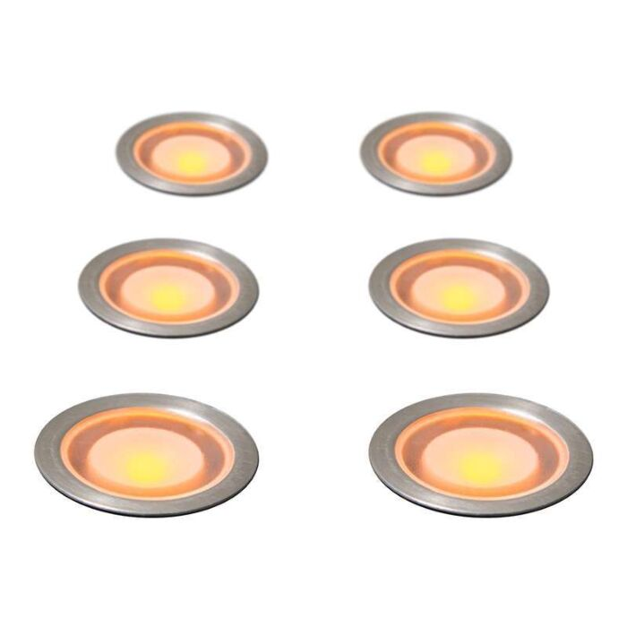 Set-of-6-Recessed-Spot-Lights-Guard-IP54-Yellow