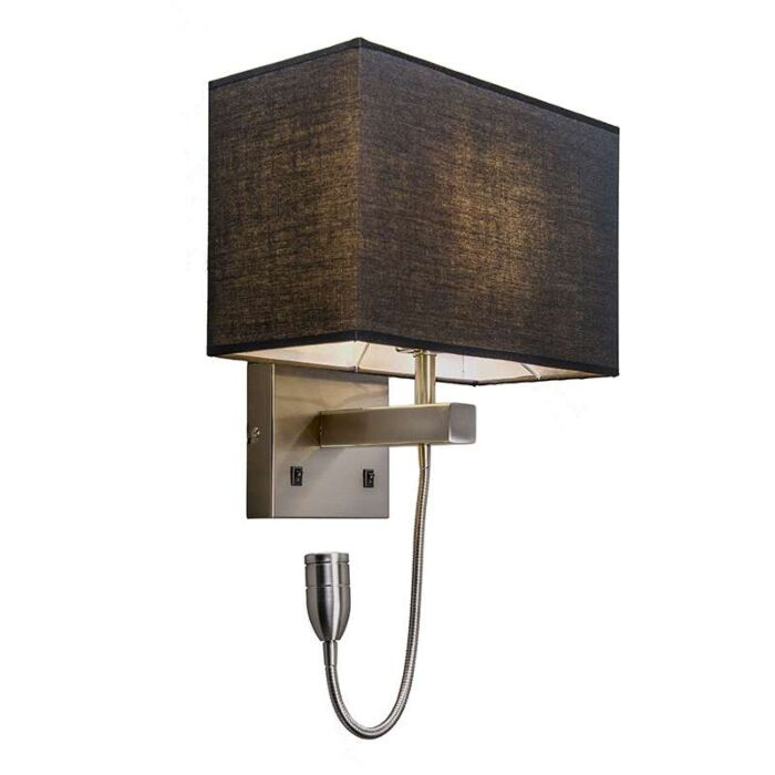Wall-lamp-steel-with-black-shade-and-reading-arm-incl.-LED---Bergamo