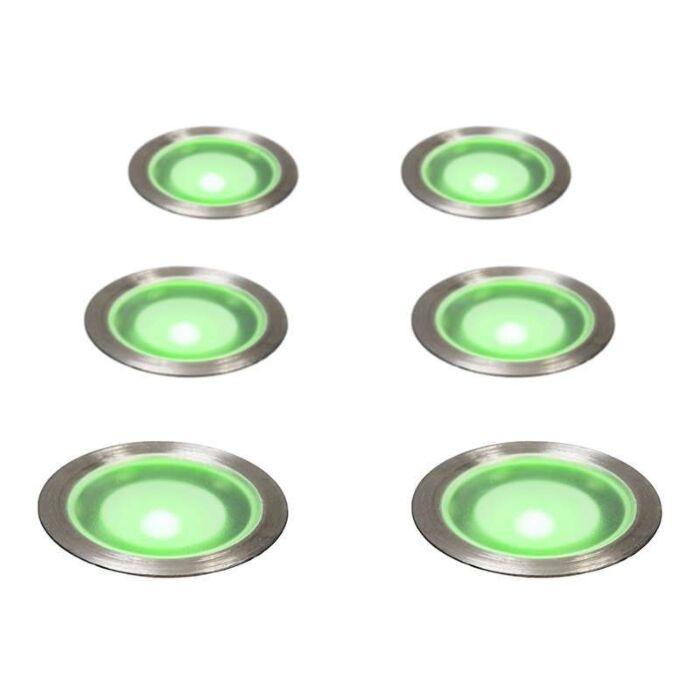 Set-of-6-Recessed-Spot-lights-Guard-IP67-Green