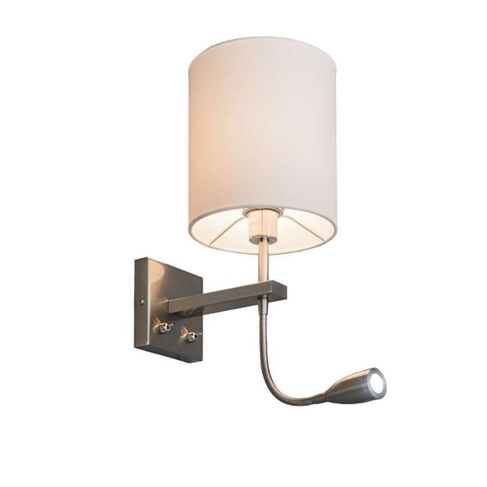 Brescia-steel-wall-lamp-with-white-shade-and-reading-light