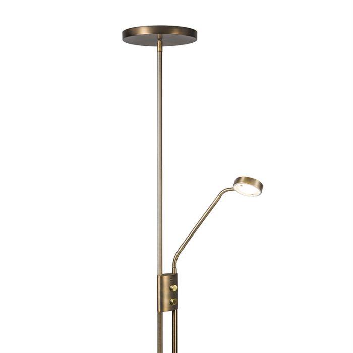 Uplighter-Jazzy-with-Reading-Lamp-Round-Bronze