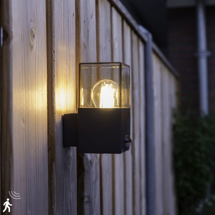 Exterior-wall-light-dark-gray-with-motion-detector-IP44---Denmark