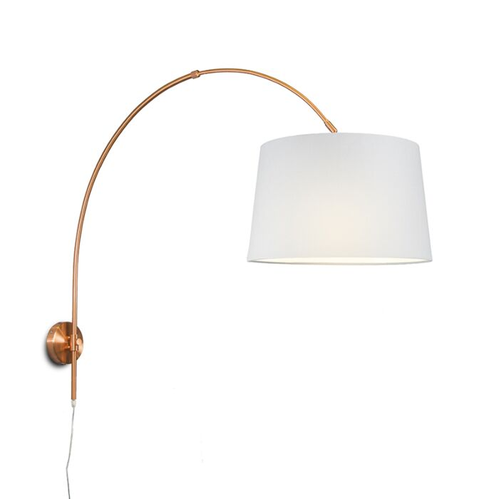 Wall-Arc-Lamp-Matte-Copper-with-40cm-White-Shade
