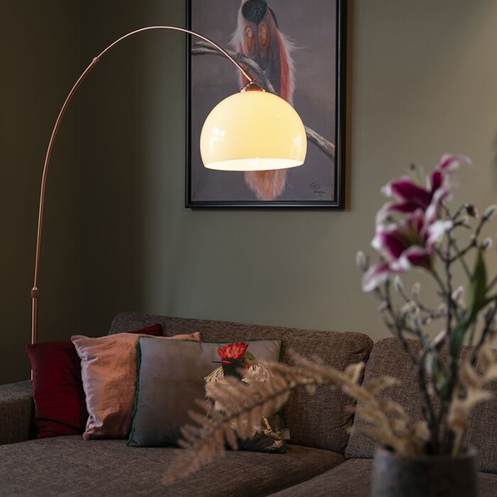 Modern-arc-lamp-copper-with-white-shade---Arc-Basic