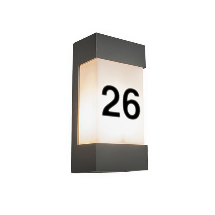 Outdoor-Wall-Lamp-Graphite-IP54-with-House-Numbers-Sticker---Tide-V