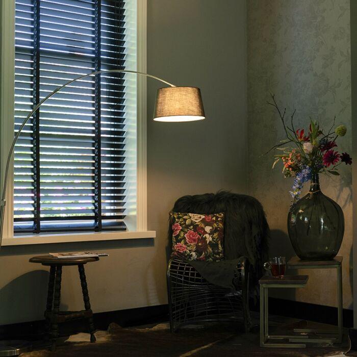 Modern-steel-arch-lamp-with-black-fabric-shade---Arc-Basic