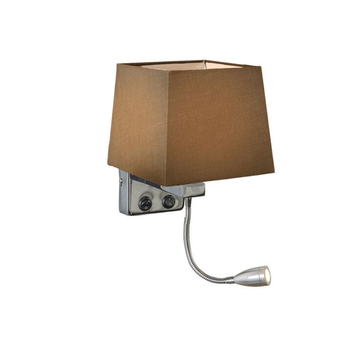 Wall-Lamp-Brescia-Chrome-with-Square-Brown-Shade