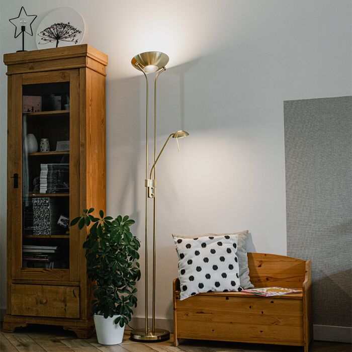 Floor-lamp-gold-with-reading-lamp-incl.-LED-and-dimmer---Diva-2