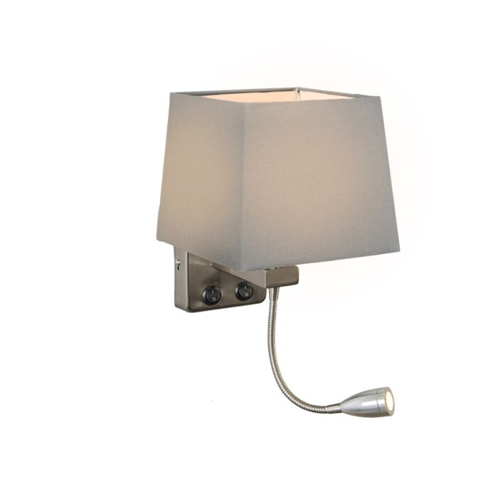 Wall-Lamp-Brescia-Steel-with-Square-Grey-Shade