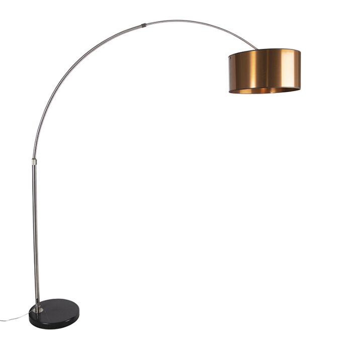 Arc-lamp-steel-shade-copper-50-cm---XXL